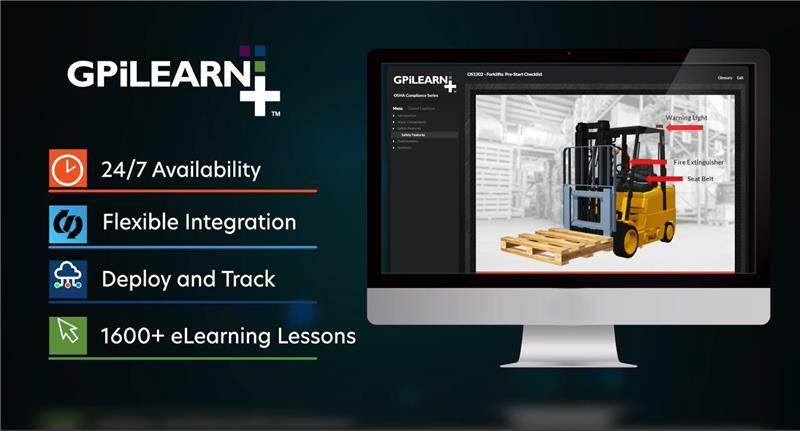 GPiLearn infographic with logo and screenshot of dashboard